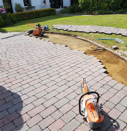 recent project for block paving in market-harborough - image shows a patio during design
